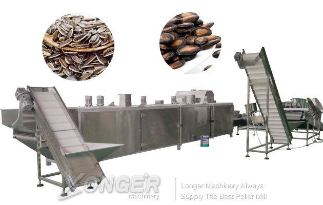 continuous sunflower seeds roasting production line