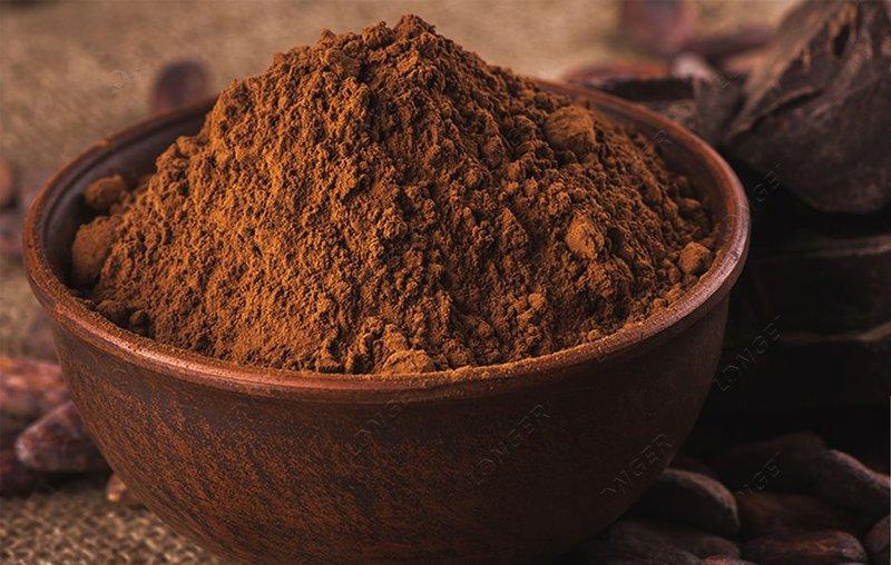 making cocoa cake into cocoa powder